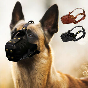 Leather Pitbull Dog Muzzle Doberman German Shepherd Secure Basket Black Brown