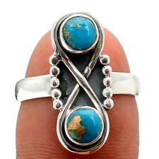 Copper Blue Turquoise - Arizona 925 Sterling Silver Ring s.7 Jewelry 4066