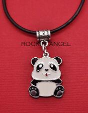 Plt & Esmalte Panda De Plata Colgante Collar Damas Niñas Regalo Amante de los animales Oso