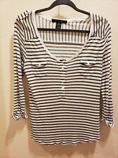 89TH & MADISON Size Small White Grey Striped 3/4 Button Up Sleeve Top