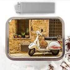 Vespa Lambretta Scooter 2oz Tobacco Tin Baccy Storage Case Personalised SH272