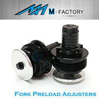 Black Billet Front Fork Preload Adjusters Fit Honda CBR600 F2 91-94