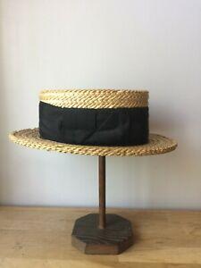 ancien chapeau canotier en paille