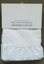Hotel Collection White Matelasse Cottage Chic Fabric Shower Curtain Ruffle Edge