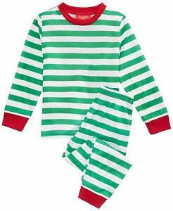 Family PJs Kids Holiday Stripe Pajama Set Green 6-7