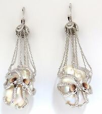 GIA Certified 30mm Baroque Pearls Catseye Ocotopus diamond dangle earrings