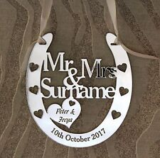 Personalised Mr & Mrs Goodluck Wedding Horseshoe Anniversary Gift FREE GIFT BAG