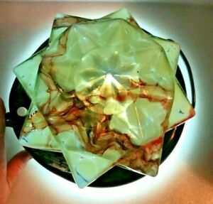 ANTIQUE Deco End of Day CZECH Spatter CLOUD Glass STAR Shade Globe LIGHTING