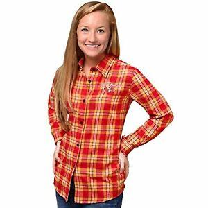 FOCO NFL Women's San Francisco 49ers 2016 Wordmark Basic Flannel Shirt