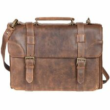 NEW SCULLY AERO SQUADRON VINTAGE LEATHER FRONT FLAP LAPTOP BRIEF BAG WALNUT