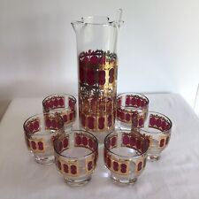 Culver Mid Century Martini Set Including Pitcher, Stirstick, And 6 Glasses