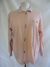 Ladies Jumper/top - Unknown, 70% wool, salmon pink/peach, buttons, unusual 1719