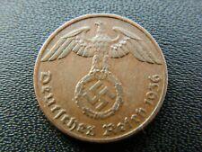 """1 Reichspfennig 1936 F - Original RARE German coin with swastika -""""6464"""""""