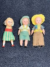 3 Antique Tiny Plastic Made In Italy Dolls Eyes Open And Close