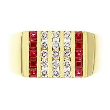 Men's 14k Yellow Gold 0.50ctw Ruby & Diamond Channel Ring Size 9