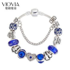 European style bracelet Lucky Clover Blue Crystal Charm