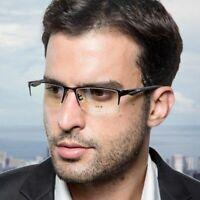 Pure Titanium Eyeglass Frames Spectacles Glasses Half Rimless Flexible Mens I294