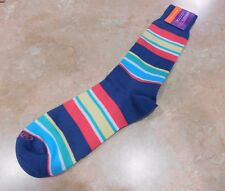 1115  Lorenzo Uomo Colorful Striped Italian Cotton Socks   10-13   B7158A7 Royal