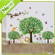 Animal Monkey Wall Stickers Jungle Zoo Lion Tree Baby Nursery Room Decals Art