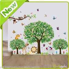 Animales Mono pegatinas de pared selva Zoo León árbol bebé vivero habitación calcomanías Arte