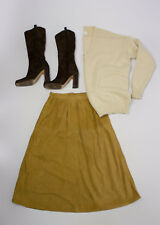 BURBERRY Vintage Very Soft Suede Brown Midi Skirt, SIZE UK 10 LONG, US 6, EU 36