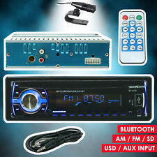Car Stereo Audio Radio Receiver w/ Bluetooth In-Dash FM SD USB MP3 + Aux Cable