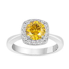 1.23 Carat Enhanced Fancy Yellow Diamond Engagement Ring Halo 14K White Gold