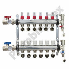 "6-Branch PEX Radiant Floor Heating Manifold Stainless w/ 1/2"" Connectors"