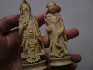 Pair Antique 19th Century Chinese Qing Carved Chess Pieces King & Queen Figure