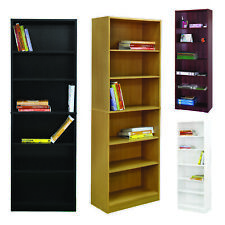 Tall Bookcase Unit Display Storage Wooden BookShelf Home Office 6Tier Adjustable