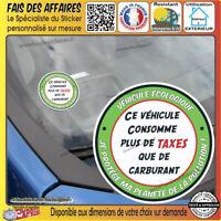 Stickers Autocollant adhésif humour Vignette crit'air trop de taxe pompe essence