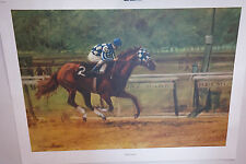 VINTAGE HORSE PRINT HENRY KOEHLER SECRETARIAT KENTUCKY DERBY RACE SIGNED 1974