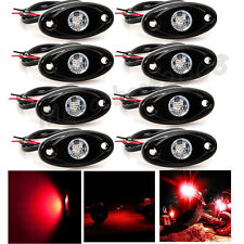 8X CREE LED Rock Red Light JEEP SUV 4WD Off-Road Truck Trail Fender Dome Lights