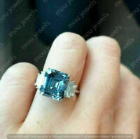 3.20 Ct Emerald Cut Aquamarine Solitaire Engagement Ring 14K White Gold Over