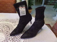 NEW ZARA BLACK EMBROIDERED SATIN HIGH-HEELED ANKLE BOOTS  SIZE 38