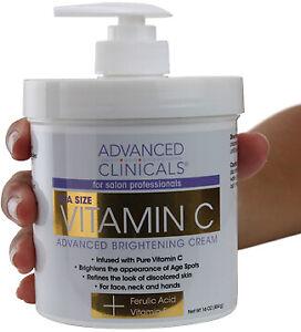 Advanced Clinicals Spa Size Vitamin C Advanced Brightening Cream 16 Oz (454g)