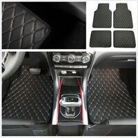 4Pcs PU Leather Car SUV Floor Mat Foot Pads Interior Carpet Dustproof Waterproof