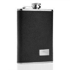 9oz Black Stainless Steel Drink Wine Liquor Alcohol Hip Flask Leather Pocket