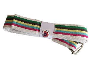 2m Stripey Yoga Belt, Bar Buckle