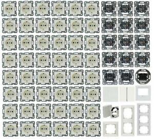 modernes 116-teiliges Steckdosen-/Schalter-SET 1-Fam.-Haus MERIDIAN weiß NEU *V0