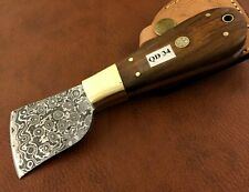 Handmade Damascus Steel Saddlers-Leather Cutter-Edge Skiving Tool-QD34