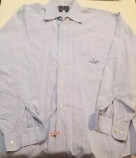 $159 TRUSSARDI JEANS MENS COTTON LONG SLEEVE DRESS SHIRT LARGE L BLUE 15.5 33/34