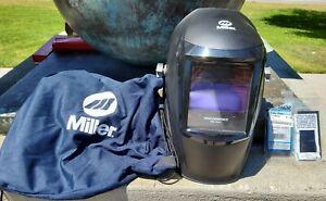 Used Miller Performance Series digital welding helmet with bag & 2 extra lenses.