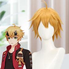 Genshin Impact Thoma Long Yellow Hair Ponytail Cosplay Halloween Tohma Wig Cap