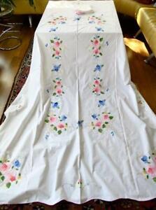 "Vintage Cotton Scalloped 64x102"" Tablecloth Applique Bright Flowers 12 Napkins"