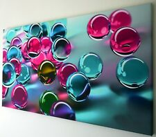 ABSTRACT  BLUE PINK CANVAS PRINT WALL ART PICTURE 18 X 32 INCHES