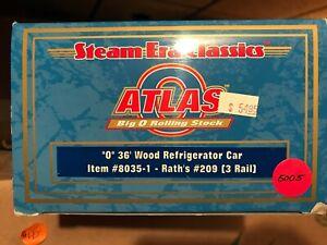 Atlas O 8035-1 Rath's #209 36' Wood Reefer - 3 Rail - NIB