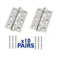 """Ball Bearing Hinges 10 Pairs 3"""" 76mm Fire Rated Polished Chrome Inc Screws"""