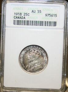 1918 Canada Silver Quarter Certified ANACS AU 55