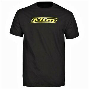 NEW - KLIM  Men's WORD Logo Black / Yellow Genuine Motorsports Adventure T-Shirt